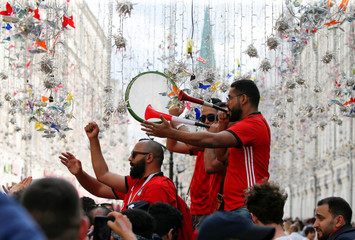 Supporters of the Egyptian national soccer team cheer during a gathering on the eve of the 2018 FIFA World Cup in central Moscow