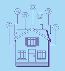 Modern house with smart home related icons over blue background, colorful design. vector illustration