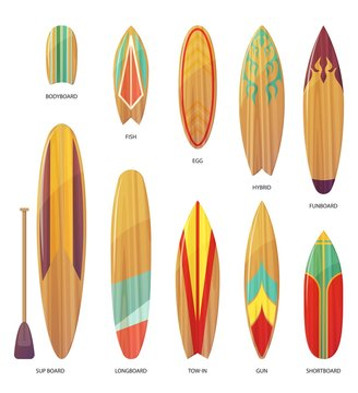 Set of isolated different types of surfboards