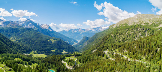 Bernina Pass (CH) - Vista aerea panoramica in località La Rosa verso Poschiavo