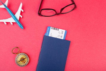 Flat lay design of travel summer concept