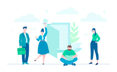Business team - flat design style colorful illustration