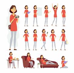 Pretty woman - vector cartoon people character set