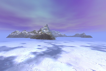 Island, a polar landscape, snow on the ground, ice in the sea and pink clouds in the sky.