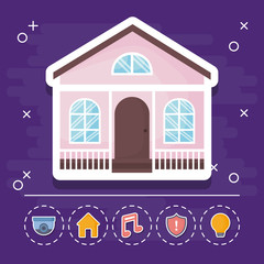 modern house icon with smart house related icons over purple background, colorful design. vector illustration