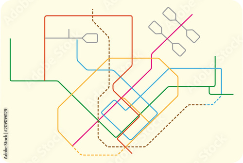 Colored Subway Vector Map Of Singapore Asia Stock Image And