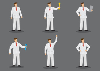 Man in White Suit Vector Fashion Character Set