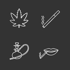 Smoking chalk icons set