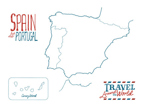 Map of Spain and Portugal drawn by hand on white background