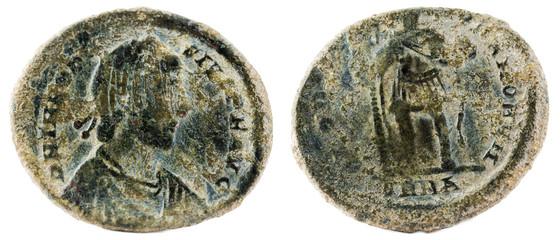 Ancient Roman copper coin of Emperor Theodosius.