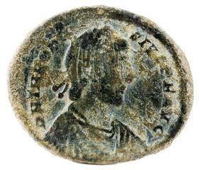 Ancient Roman copper coin of Emperor Theodosius.  Obverse.