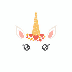 Hand drawn vector illustration of a cute funny unicorn face cake decoration with hearts, stars. Isolated objects on white background. Flat style design. Concept for children print.