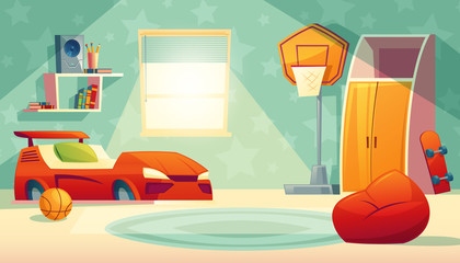 Vector children s bedroom interior with window - furniture, toys for boy. Shelves with books, basketball equipment and closet in cartoon style. Background with design elements for kids