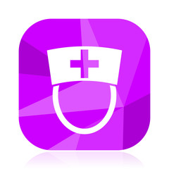 Nurse flat vector icon. Doctor violet web button. Hospital internet square sign. Clinic modern design symbol in eps 10.