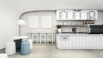 Cafe shop & Restaurant Modern Design. Modern white curved wall,concrete floor,Modern Design Furniture,Counter Bar Concrete with White Tiles- 3D render