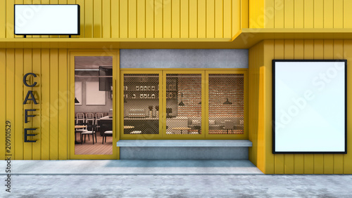 Front view Cafe shop & Restaurant design  Modern Loft metal