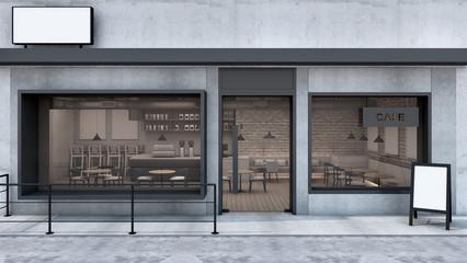 Front view Cafe shop & Restaurant design. Modern Loft wall concrete frame windows black metal counter metal black. Top counter concrete, 3D render Wall mural