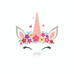 Hand drawn vector illustration of a cute funny unicorn face cake decoration with flowers. Isolated objects on white background. Flat style design. Concept for children print.