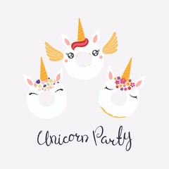 Set of cute funny donuts with unicorn faces, horns, ears, flowers, lettering quote Unicorn party. Isolated objects on light background. Vector illustration. Flat style design. Concept children print.