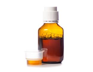 Bottle of syrup medicine on white background isolation
