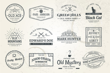 Fototapete - Set of vintage template logos. Perfectly to your company logos, advertisement, promotion material, sticker and business cards.