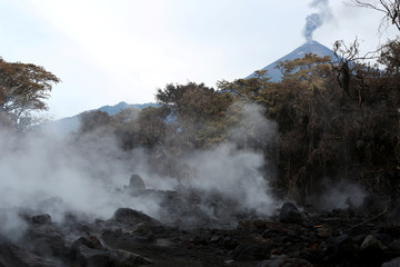 An area affected by a lahar from Fuego volcano is seen in El Rodeo