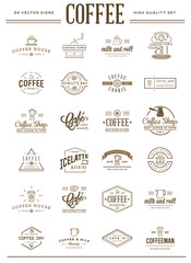 Big Set of Vector Coffee Elements and Coffee Accessories Illustration can be used as Logo or Icon in premium quality