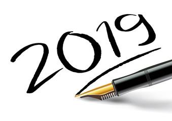 2019 - objectif - perspective - vœux - année - challenge - stylo - bilan - entreprise - présentation