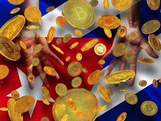 Bitcoin crypto currency Cuba flag A lot of falling  gold bitcoins Rain of golden coins fall to the palms of the hands on Republic of Cuba waving flag  background
