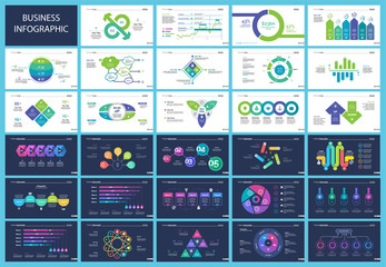 Set of financial analysis concept infographic charts. Business diagrams for presentation slide templates. For corporate report, advertising, banner and brochure design.