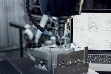 3D-Illustration CNC-Verarbeitung im Metal