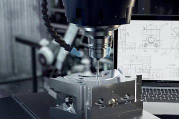 3D-Illustration CNC-Verarbeitung im Metal Wall mural