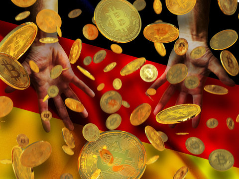 Bitcoin crypto currency Germany flag A lot of falling  gold bitcoins Rain of golden coins fall to the palms of the hands on Federal Republic of Germany waving flag  background