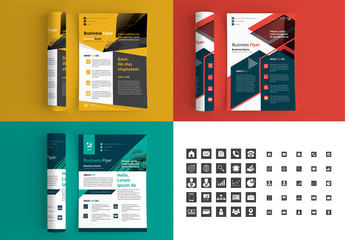 3 Corporate Flyer Layouts with Bright Accents