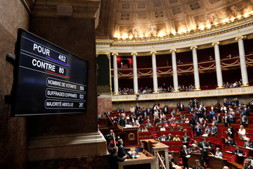 View shows the voting results board in favor of the French government's SNCF reform bill at the National Assembly in Paris