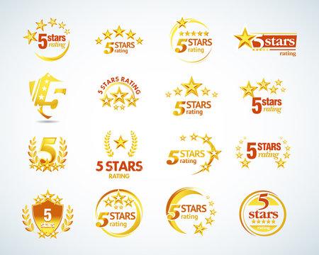 Golden Five stars logo template set. 5 star rating emblems set. Isolated Vector illustration.