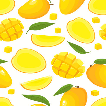 Vector seamless pattern with cartoon mango isolated on white