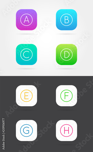 big set of app icon template with guidelines vector fresh colour