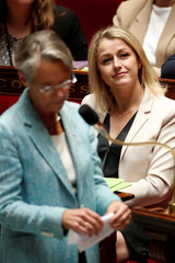 French Transport Minister Elisabeth Borne and French centrist La Republique En Marche (LREM) Member of Parliament Barbara Pompili are pictured after the vote for the French government's SNCF reform bill at the National Assembly in Paris