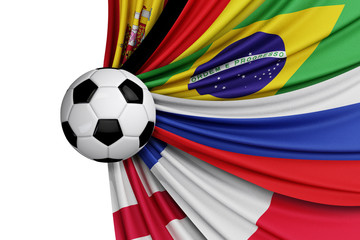 The national flags of the world with a soccer ball. 3D Rendering.