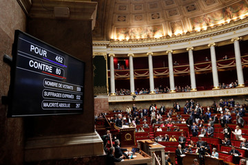 View shows the voting results board in favor of the French governments SNCF reform bill at the National Assembly in Paris