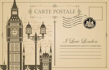 Retro postcard with Big Ben in London, UK. Vintage vector postcard with place for text, words I love London and rubber stamp in form of royal coat of arms on abstract background of old manuscript
