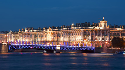 Hermitage museum (Winter Palace) and Palace Bridge at night, St. Petersburg, Russia