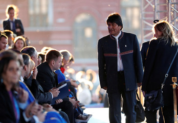 Bolivian President Evo Morales arrives to attend a gala concert on the eve of the 2018 FIFA World Cup in Moscow