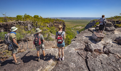 spectacular view over Arnhem Plateau and Kakadu National Park from top of the Jim Jim fals, northern Terrtory, Australia
