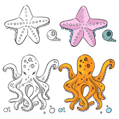 Ocean life coloring page design. Starfish and octopus