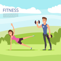Open air outdoor sport or fitness training with male and female characters