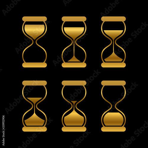 Golden Sands Of Time Hourglass Vector Isolated Symbols