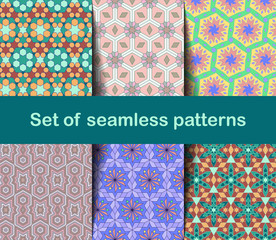 High-quality colorful wallpaper in Islamic or Arabic style. Seamless asian patterns for backgrounds and invitations. Girih arabic ornaments.