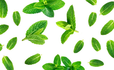 Fresh mint leaves pattern isolated on white background, top view. Close up of peppermint.